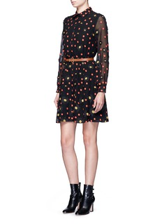 alice + olivia'Enid' floral embroidered chiffon shirt dress