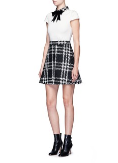 alice + olivia 'Gail' bow collar check tweed dress