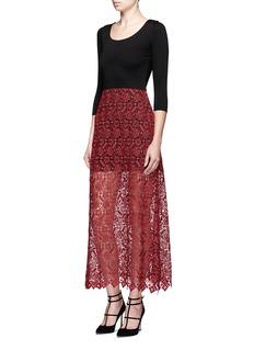 alice + olivia'Jojo' geometric guipure lace maxi dress