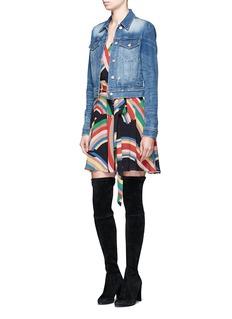 alice + olivia'Adrianna' rainbow print tie waist wrap dress