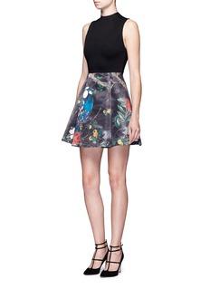 alice + olivia'Alexia' owl forest print box pleat dress