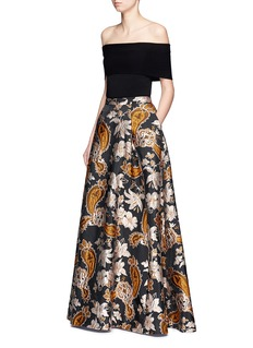alice + olivia'Rachele' paisley and floral jacquard ball gown skirt