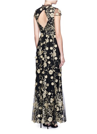 Back View - Click To Enlarge - alice + olivia - 'Aaliyah' metallic floral embroidered gown