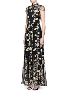 alice + olivia 'Aaliyah' metallic floral embroidered gown
