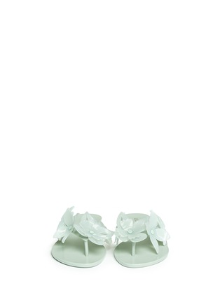 Front View - Click To Enlarge - Melissa - 'Harmonic Garden VI' floral appliqué flip flops