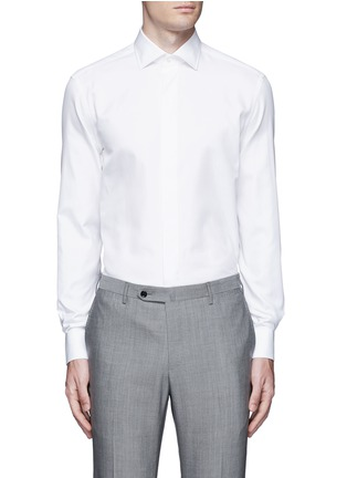 Main View - Click To Enlarge - Armani Collezioni - Slim fit cotton-silk tuxedo shirt
