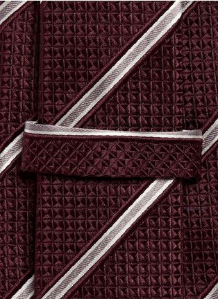 Detail View - Click To Enlarge - Armani Collezioni - Regimental stripe diamond jacquard tie