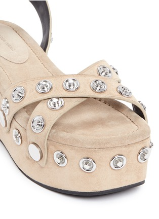 Detail View - Click To Enlarge - Alexander Wang  - 'Sandrah' snap stud suede platform sandals