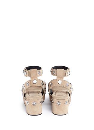 Back View - Click To Enlarge - Alexander Wang  - 'Sandrah' snap stud suede platform sandals