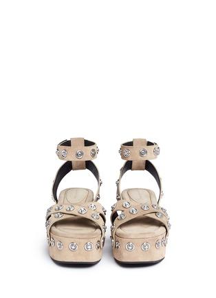 Front View - Click To Enlarge - Alexander Wang  - 'Sandrah' snap stud suede platform sandals