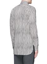 Paint print stripe cotton-modal-cashmere shirt