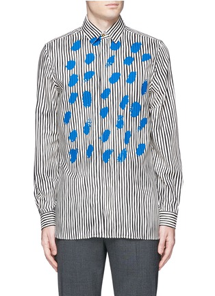 Main View - Click To Enlarge - Paul Smith - Paint print stripe cotton-modal-cashmere shirt
