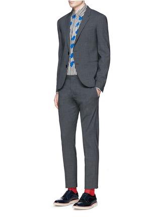 Figure View - Click To Enlarge - Paul Smith - Paint print stripe cotton-modal-cashmere shirt