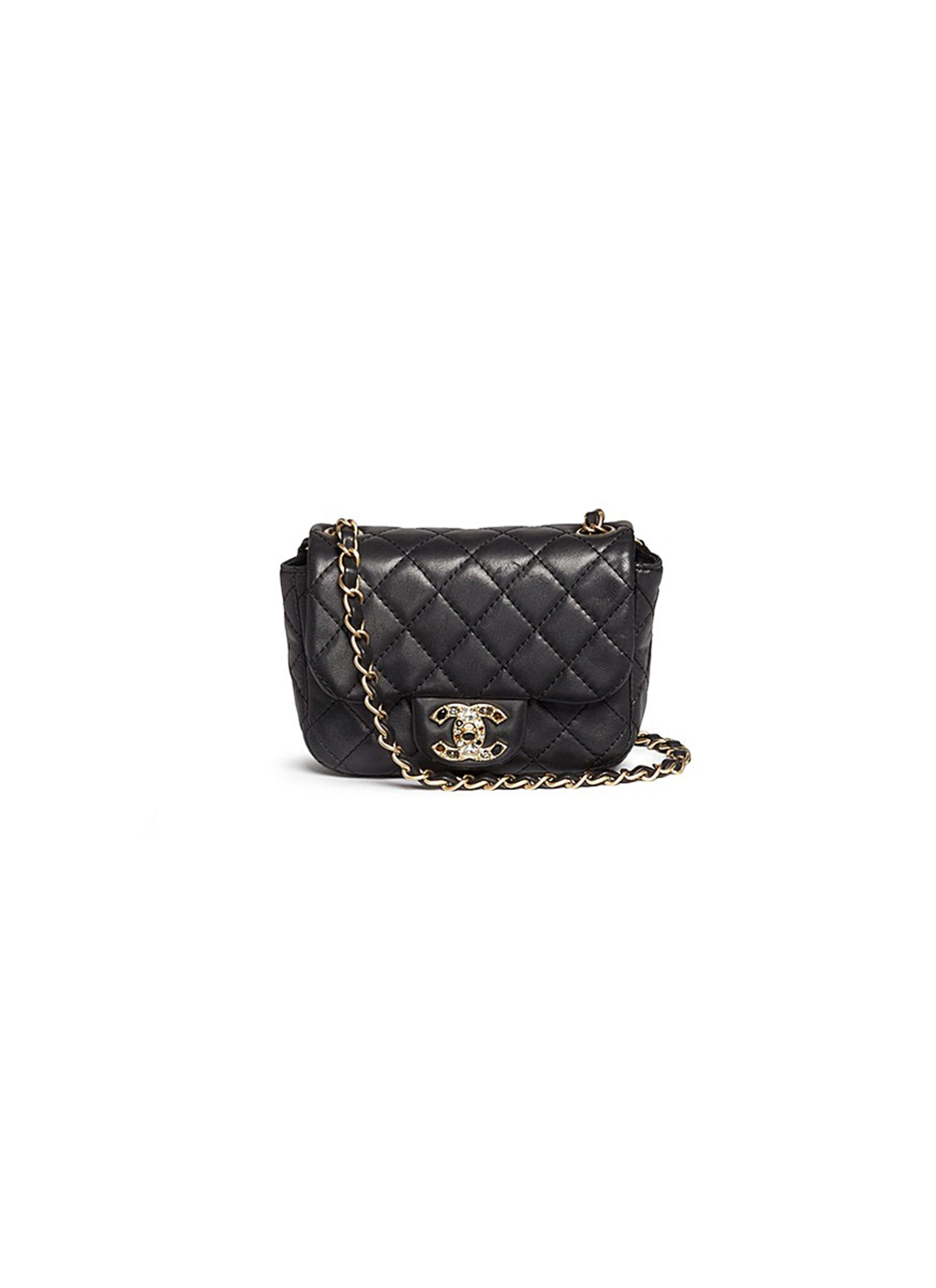 Mini crystal lock quilted leather bag by Vintage Chanel