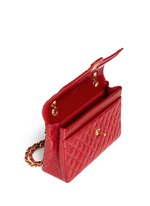 Quilted leather CC lock flap bag