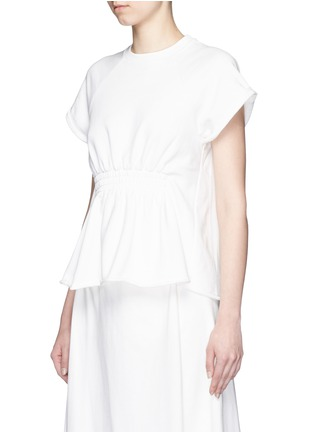 T By Alexander Wang - Shirred waist French terry peplum muscle top