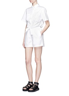 T BY ALEXANDER WANG Cotton poplin tie front rompers