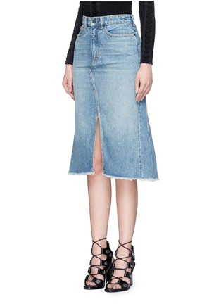 Front View - Click To Enlarge - T By Alexander Wang - Seamed A-line denim skirt