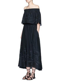 TIBI 'Carmen' embroidery cotton-silk off-shoulder maxi dress