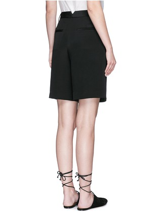 Back View - Click To Enlarge - Tibi - Wide leg silk morocain shorts