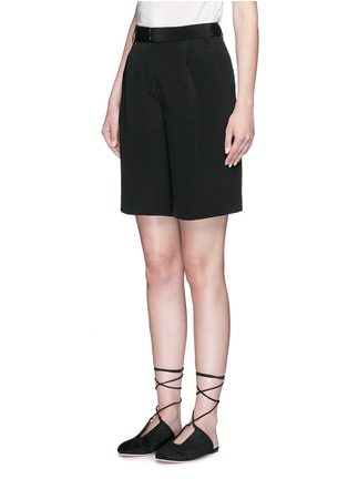 Front View - Click To Enlarge - Tibi - Wide leg silk morocain shorts