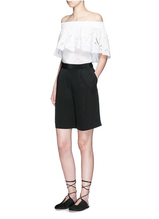 Figure View - Click To Enlarge - Tibi - Wide leg silk morocain shorts