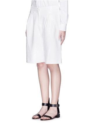 Front View - Click To Enlarge - Tibi - Allover sequin silk Bermuda shorts
