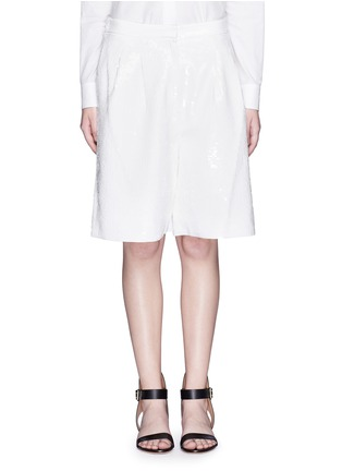 Main View - Click To Enlarge - Tibi - Allover sequin silk Bermuda shorts