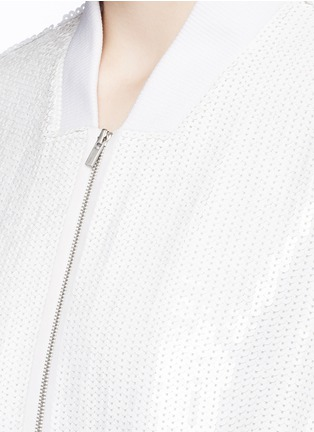 Detail View - Click To Enlarge - Tibi - All over sequin silk drawstring bomber jacket