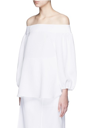Front View - Click To Enlarge - Tibi - Blouson sleeve off-shoulder top