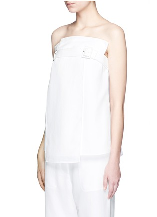 Front View - Click To Enlarge - Tibi - Belted drape strapless trench top