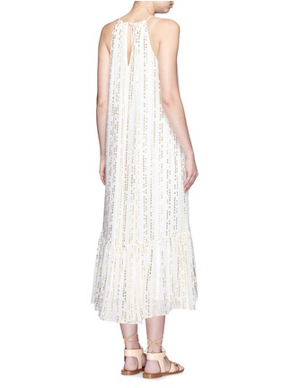 Back View - Click To Enlarge - Tibi - 'Chase' metallic fil coupé tier silk blend maxi dress
