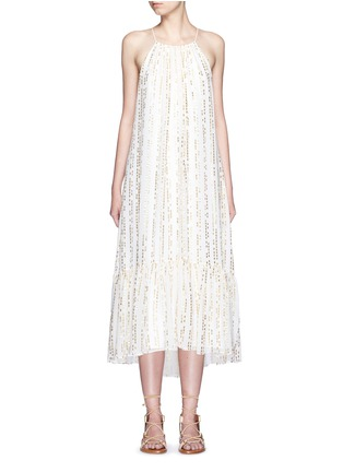 Main View - Click To Enlarge - Tibi - 'Chase' metallic fil coupé tier silk blend maxi dress