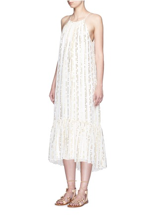 Figure View - Click To Enlarge - Tibi - 'Chase' metallic fil coupé tier silk blend maxi dress