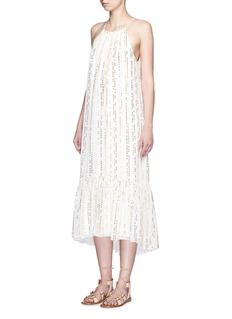 TIBI'Chase' metallic fil coupé tier silk blend maxi dress