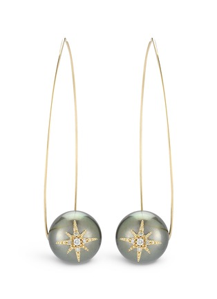 Main View - Click To Enlarge - Mizuki - 'Sea of Beauty' diamond star 14k gold wire Tahitian pearl drop earrings