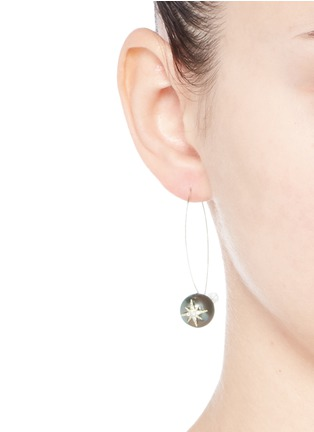 Mizuki-'Sea of Beauty' diamond star 14k gold wire Tahitian pearl drop earrings
