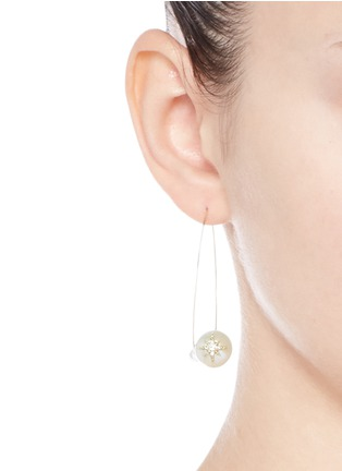 Figure View - Click To Enlarge - Mizuki - 'Sea of Beauty' diamond star 14k gold wire pearl drop earrings