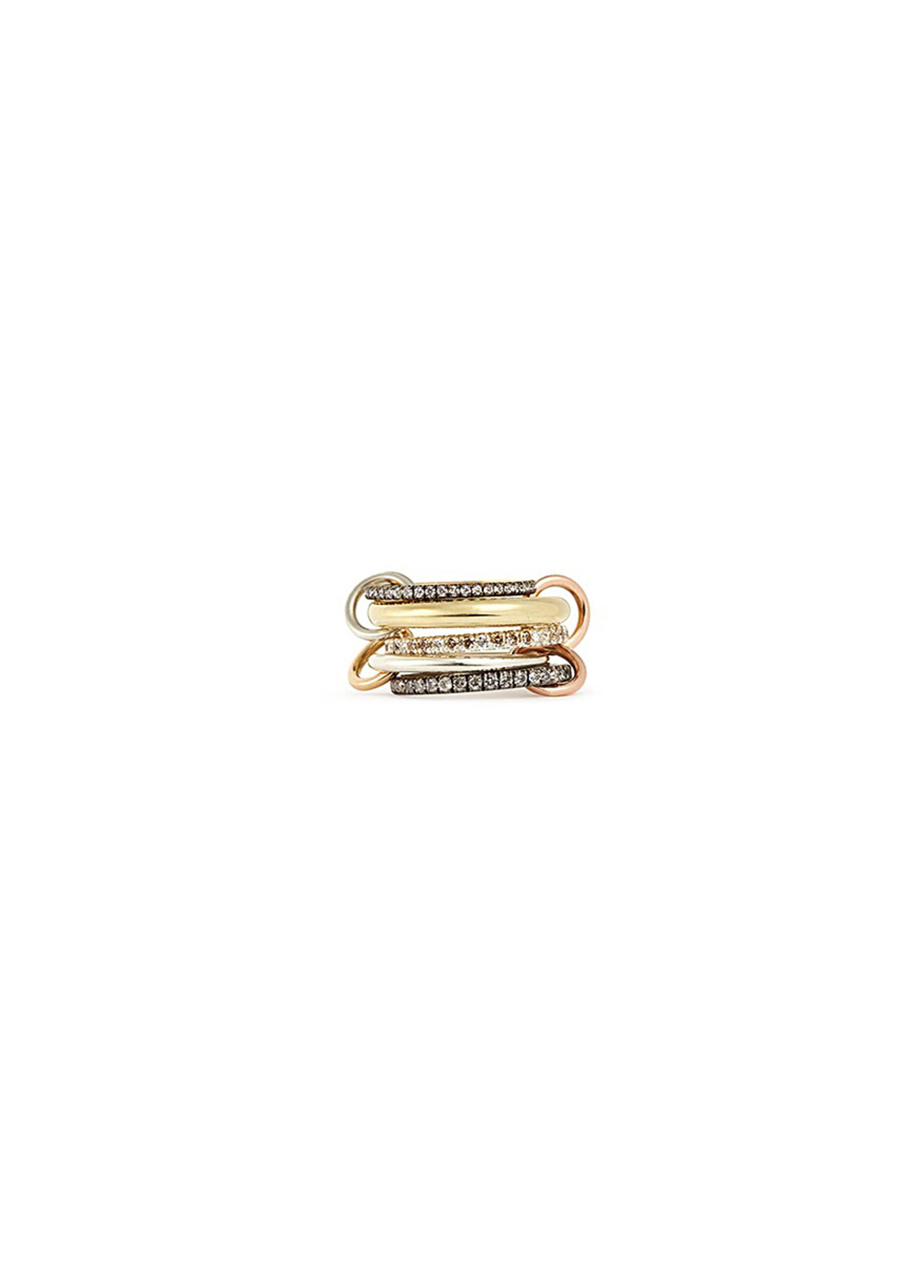 Nexus diamond 18k gold five link ring by Spinelli Kilcollin