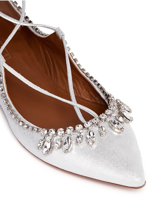 Detail View - Click To Enlarge - Aquazzura - 'Christy' crystal fringe metallic suede lace-up flats