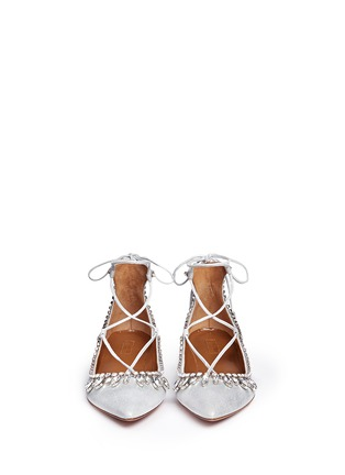Front View - Click To Enlarge - Aquazzura - 'Christy' crystal fringe metallic suede lace-up flats