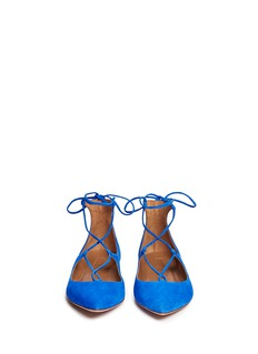 AQUAZZURA 'Christy' lace-up suede flats