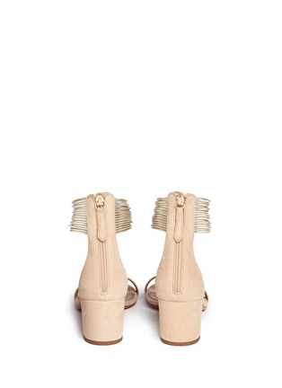 Back View - Click To Enlarge - Aquazzura - 'Spin Me Around' metalllic anklet suede sandals