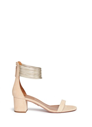Main View - Click To Enlarge - Aquazzura - 'Spin Me Around' metalllic anklet suede sandals
