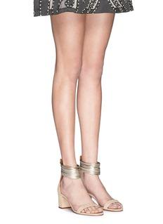 AQUAZZURA'Spin Me Around' metalllic anklet suede sandals