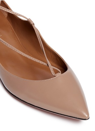 Detail View - Click To Enlarge - Aquazzura - 'Christy' lace-up calfskin leather flats