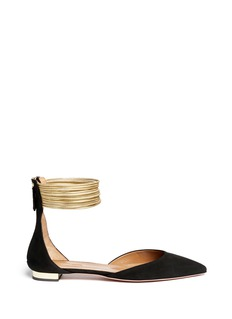 AQUAZZURA 'Hello Lover' metallic multi cuff suede flats