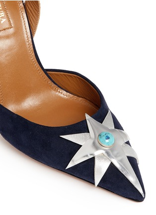 Detail View - Click To Enlarge - Aquazzura - x Poppy Delevingne 'Midnight' star suede d'Orsay pumps