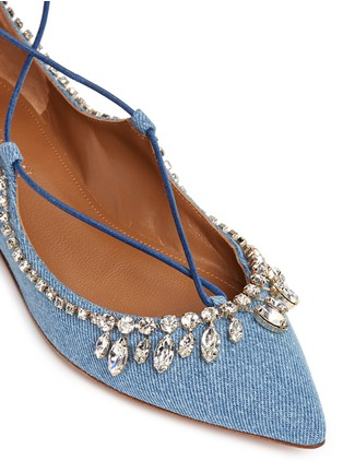 Detail View - Click To Enlarge - Aquazzura - 'Christy' strass lace-up denim flats