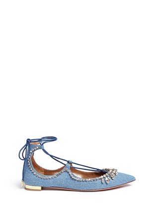Main View - Click To Enlarge - Aquazzura - 'Christy' strass lace-up denim flats